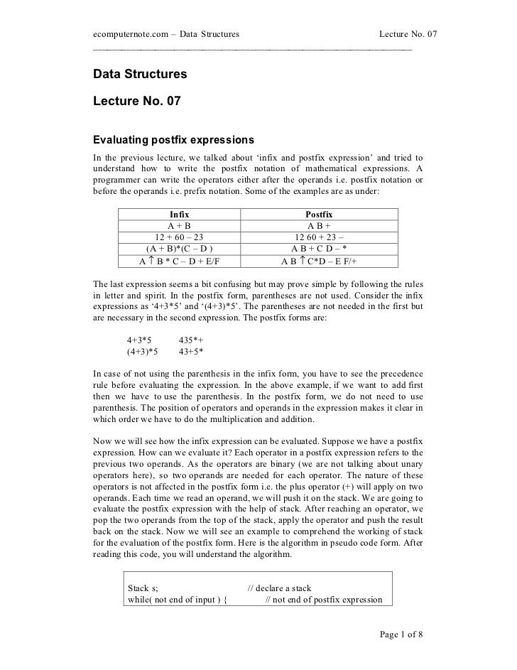 ecomputernote.com Data Structures                           Lecture No. 07________________________________________________...