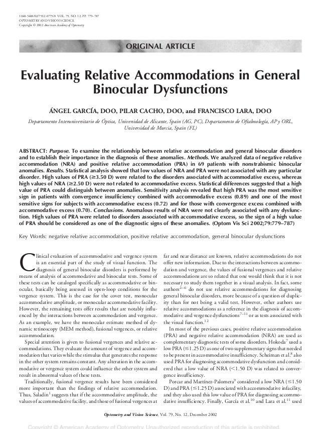 ORIGINAL ARTICLE Evaluating Relative Accommodations in General Binocular Dysfunctions ÁNGEL GARCÍA, DOO, PILAR CACHO, DOO,...