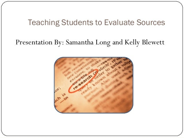 Evaluating sources – Evaluating Sources Worksheet