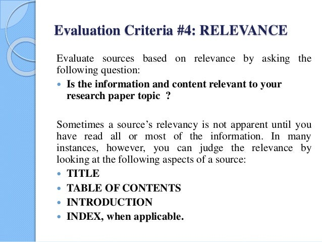 research paper criterion