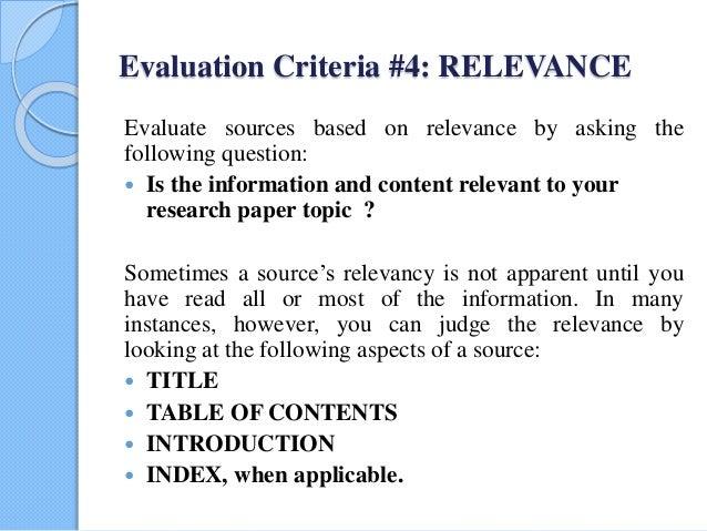 evaluation criteria paper