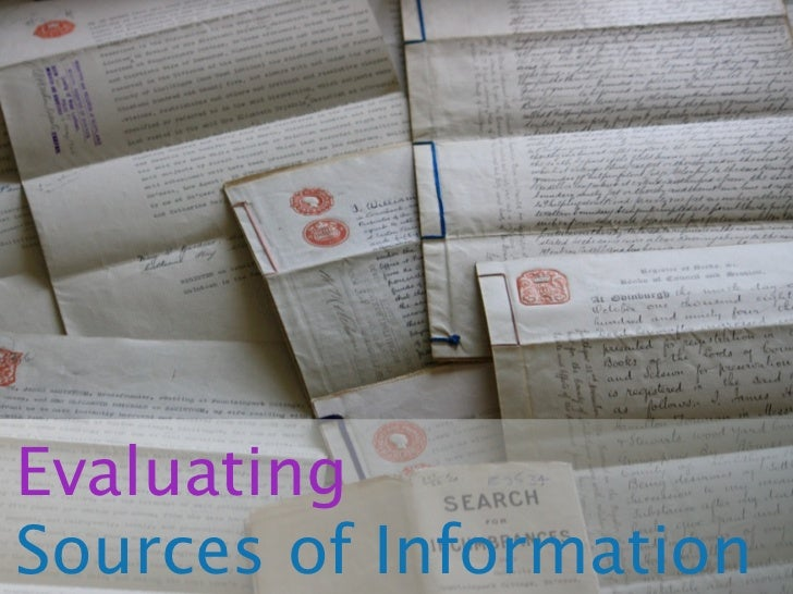 EvaluatingSources of Information