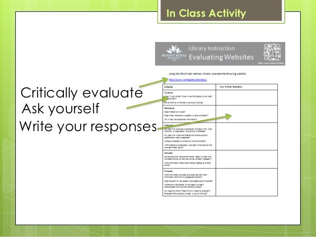In Class ActivityCritically evaluateAsk yourselfWrite your responses