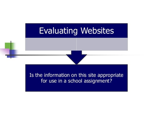 Is the information on this site appropriate for use in a school assignment? Evaluating Websites