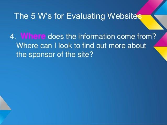 evaluating website This quiz is designed to evaluate students knowledge of evaluating websites.