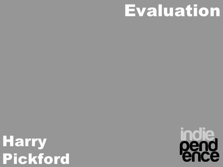 Harry Pickford Evaluation