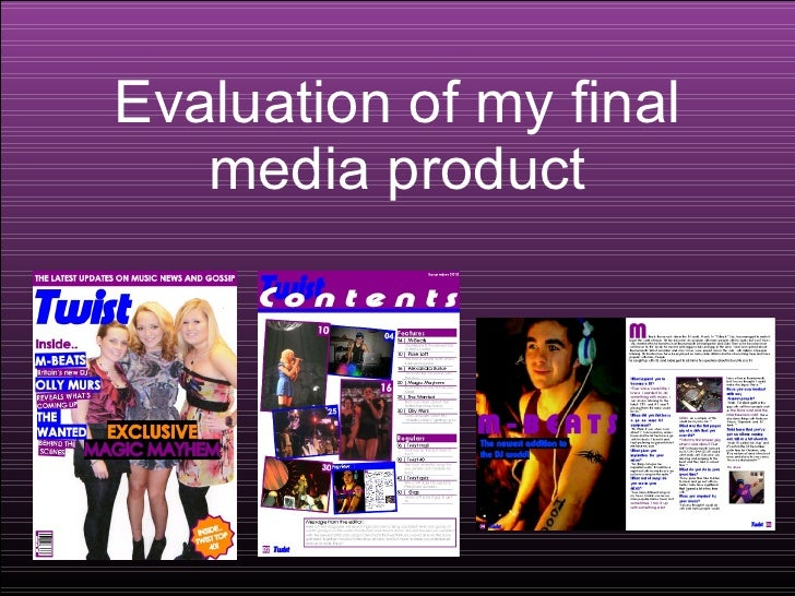 Evaluation of my final media product
