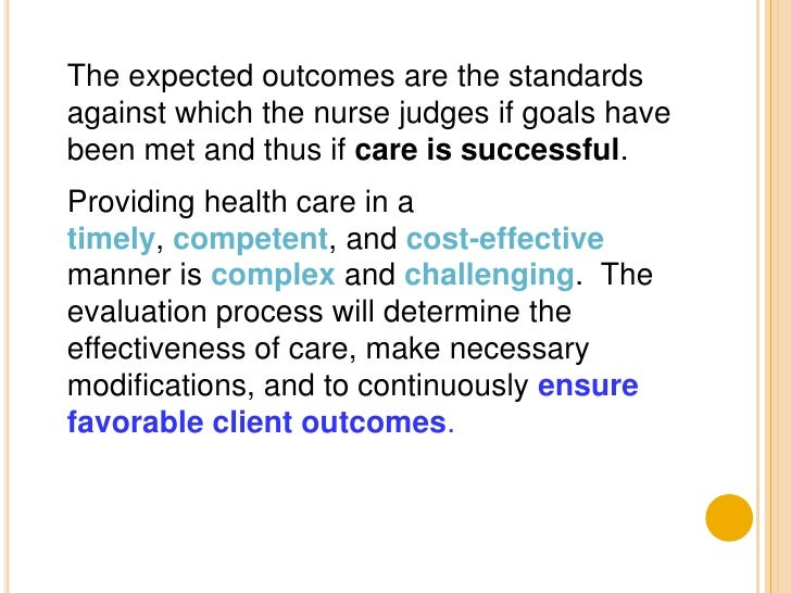 nursing process evaluation The nursing scope and standards of practice of the ana outlines the steps of the nursing process 2 match the nursing process.