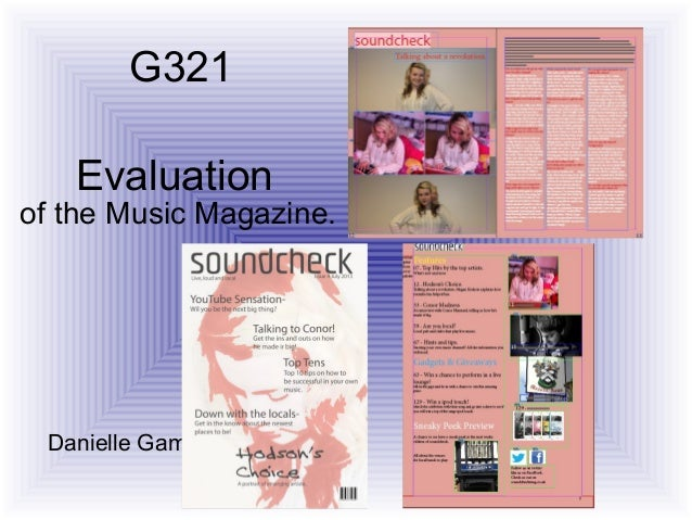 Evaluationof the Music Magazine.Danielle Gamble.G321
