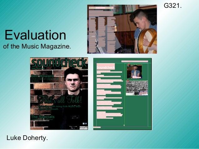 Evaluationof the Music Magazine.Luke Doherty.G321.