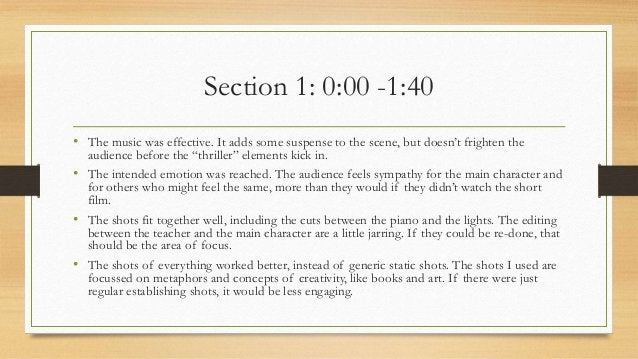 Section 1: 0:00 -1:40 • The music was effective. It adds some suspense to the scene, but doesn't frighten the audience bef...