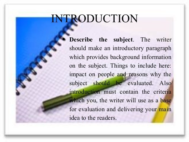 introduction paragraph for evaluation essay