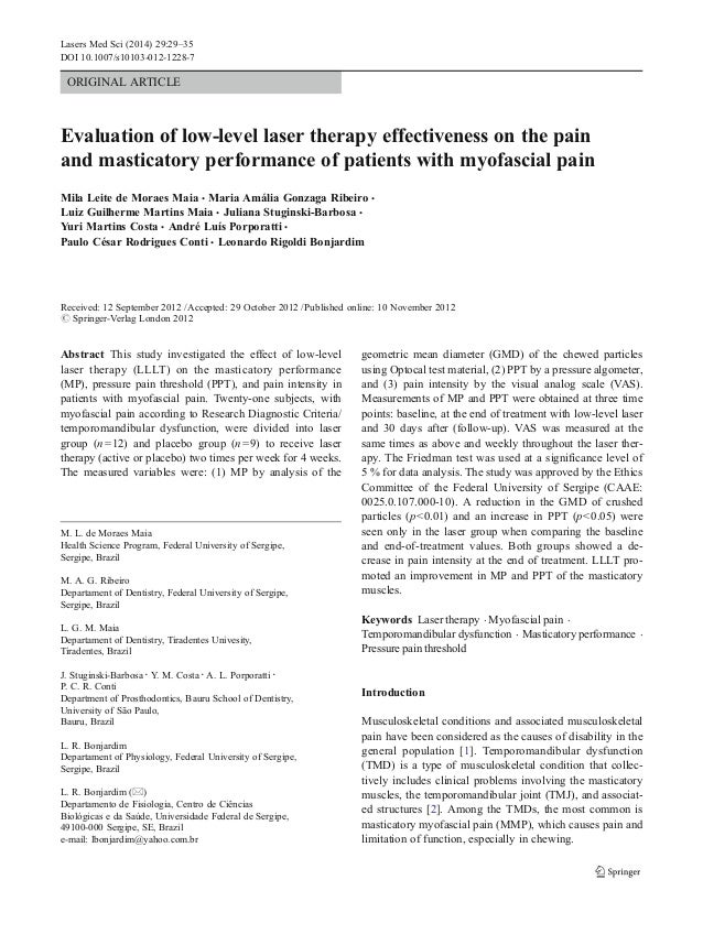 Lasers Med Sci (2014) 29:29–35 DOI 10.1007/s10103-012-1228-7  ORIGINAL ARTICLE  Evaluation of low-level laser therapy effe...