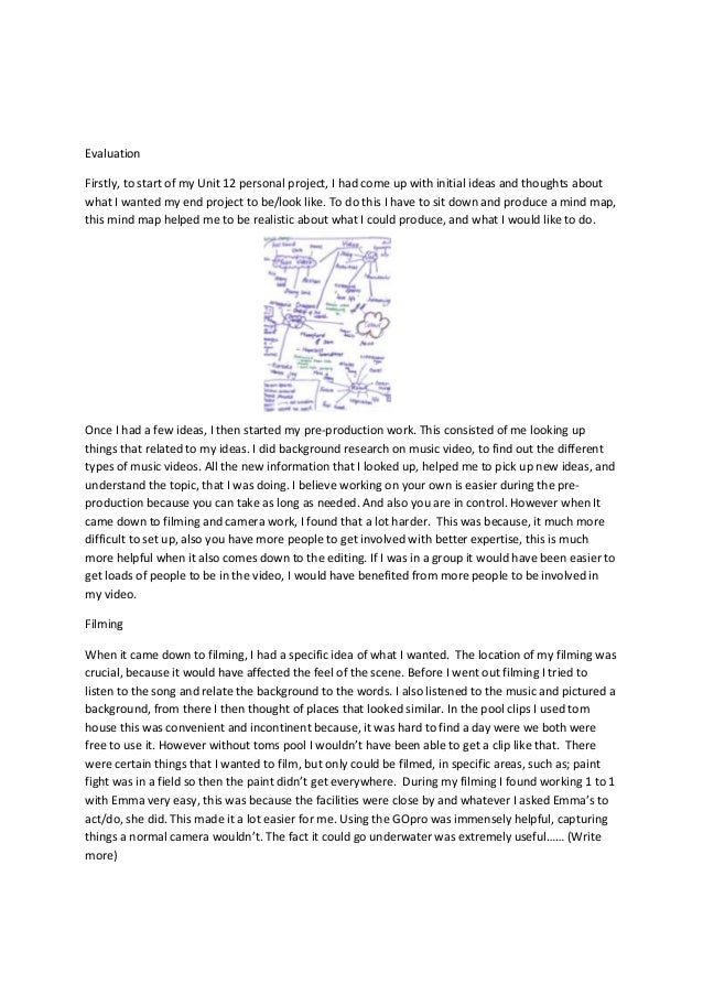 Evaluation Firstly, to start of my Unit 12 personal project, I had come up with initial ideas and thoughts about what I wa...