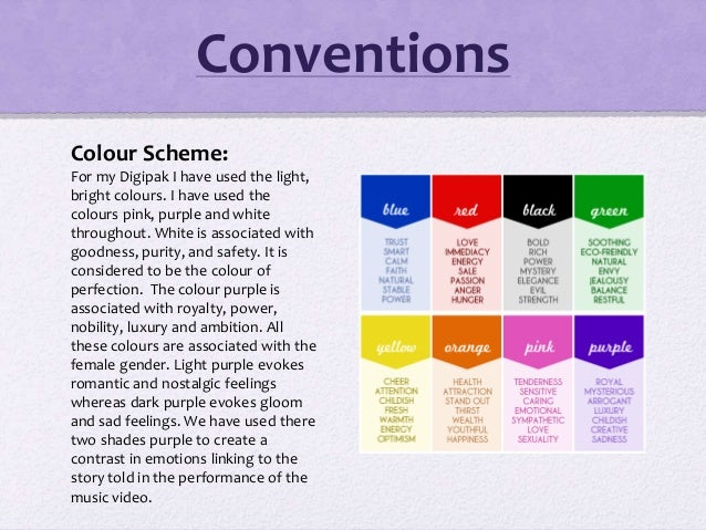 Colour Scheme: For my Digipak I have used the light, bright colours. I have used the colours pink, purple and white throug...