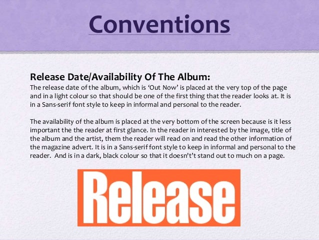 Release Date/Availability Of The Album: The release date of the album, which is 'Out Now' is placed at the very top of the...