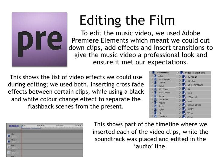 Editing the Film                          To edit the music video, we used Adobe                       Premiere Elements w...