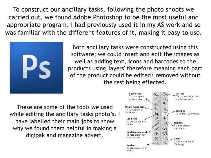 To construct our ancillary tasks, following the photo shoots we carried out, we found Adobe Photoshop to be the most usefu...
