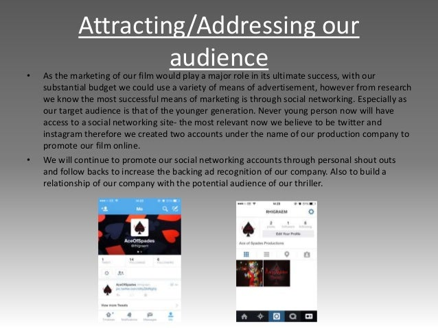 Attracting/Addressing our audience • As the marketing of our film would play a major role in its ultimate success, with ou...