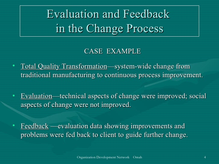 evaluating and institutionalizing od interventions Stage 4 evaluating and institutionalizing this is a success od intervention from start to end the evaluation process was impressive as you can see the success rate of the company i believe that they have institutionalized the change and they made the od a part of the companys culture.