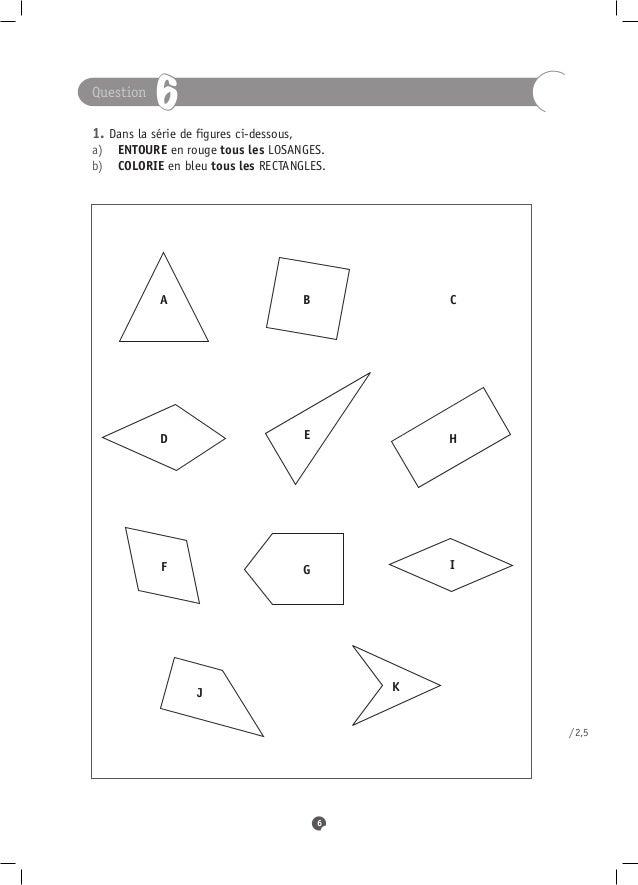 Question            61. Dans la série de figures ci-dessous,a) ENTOURE en rouge tous les LOSANGES.   b) COLORIE en bl...