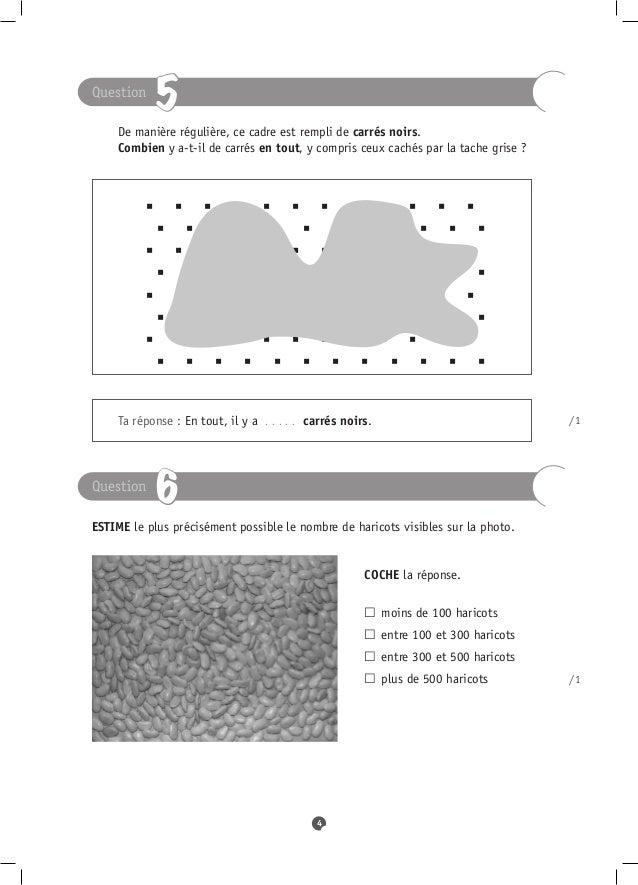 Question              5 De manière régulière, ce cadre est rempli de carrés noirs. Combien y a-t-il de carrés en tout...