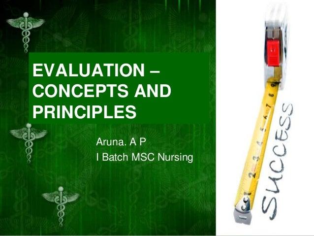 EVALUATION – CONCEPTS AND PRINCIPLES Aruna. A P I Batch MSC Nursing