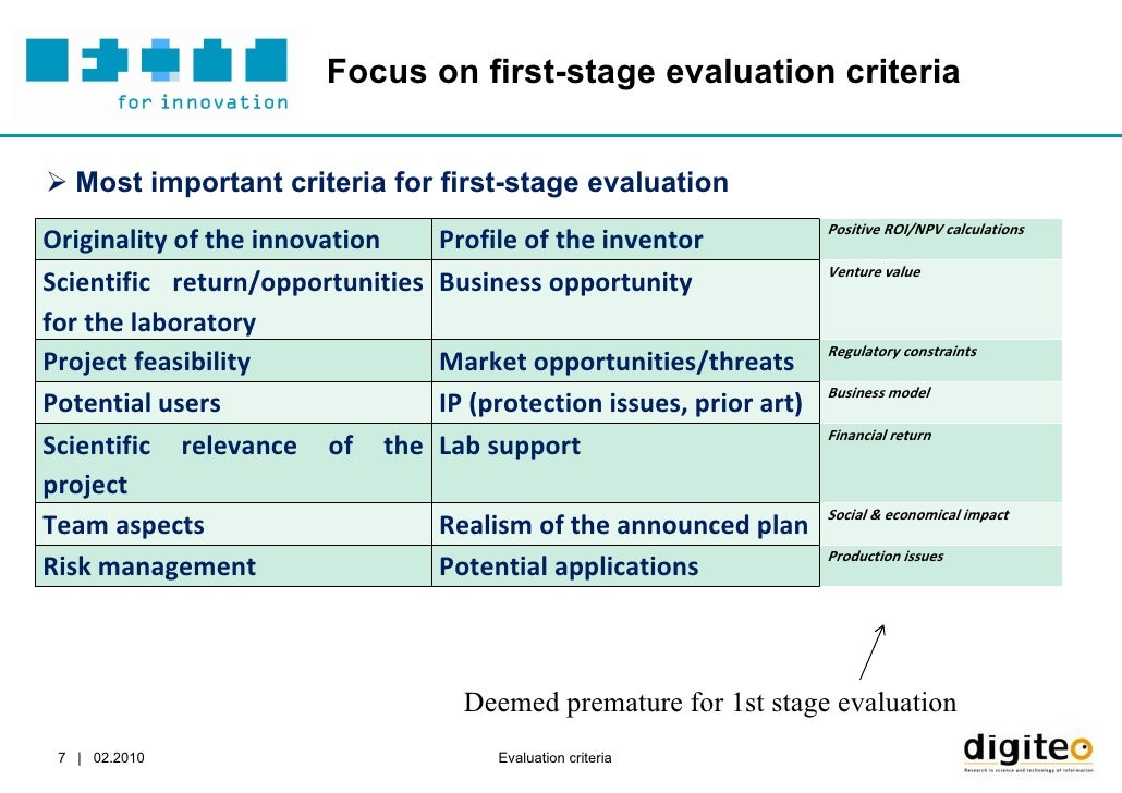 project evaluation criteria A project manager's guide to evaluation evaluate europe handbook series volume 1 performance criteria, performance standards41 8 been involved in running regular training courses and seminars in evaluation skills for project managers and teaching on post-graduate evaluation studies.