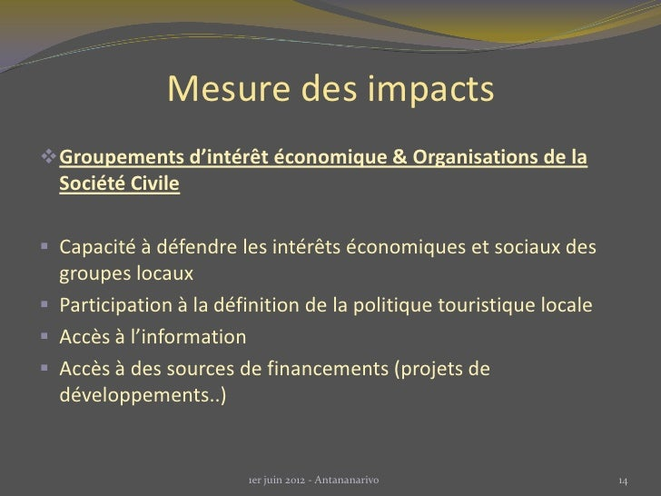 Mesure des impacts Groupements d'intérêt économique & Organisations de la  Société Civile Capacité à défendre les intérê...