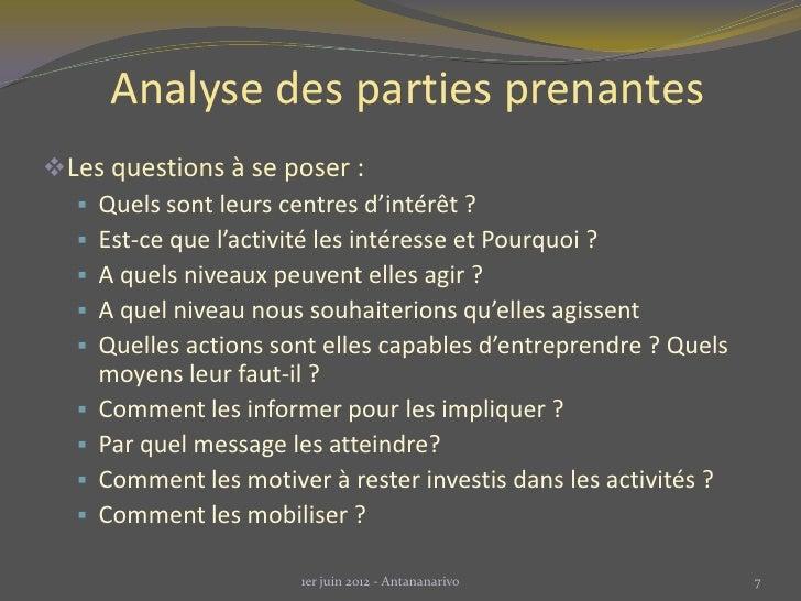 Analyse des parties prenantesLes questions à se poser :   Quels sont leurs centres d'intérêt ?   Est-ce que l'activité ...