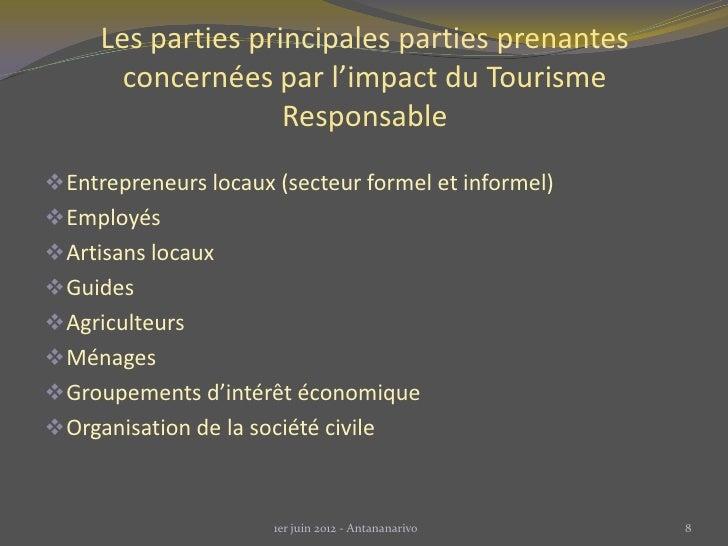 Les parties principales parties prenantes       concernées par l'impact du Tourisme                    Responsable Entrep...