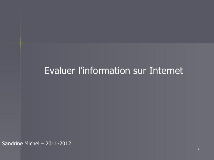 Evaluation de l info v2