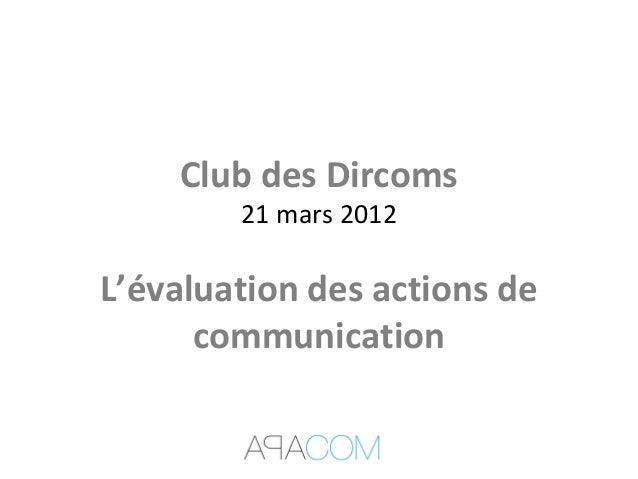 Club des Dircoms21 mars 2012L'évaluation des actions decommunication