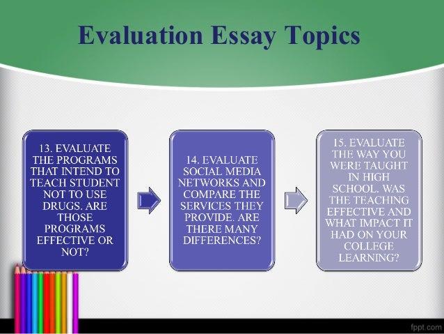Easy evaluation essay topics
