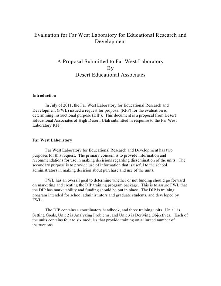 Evaluation for Far West Laboratory for Educational Research and                             Development              ...