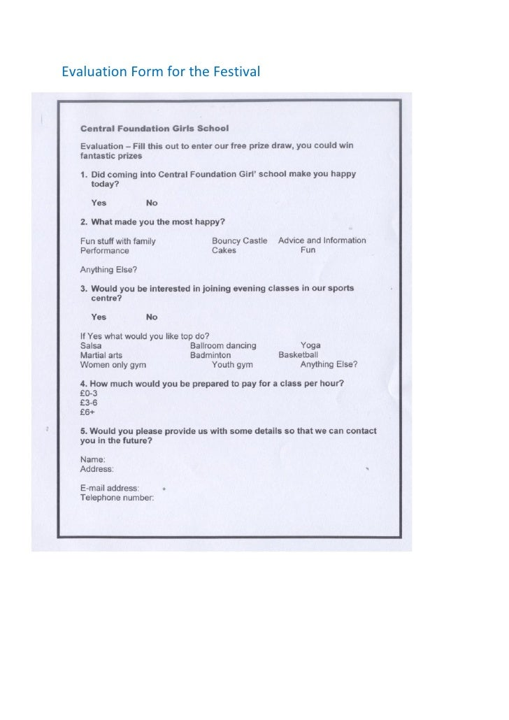 Evaluation form for the festival