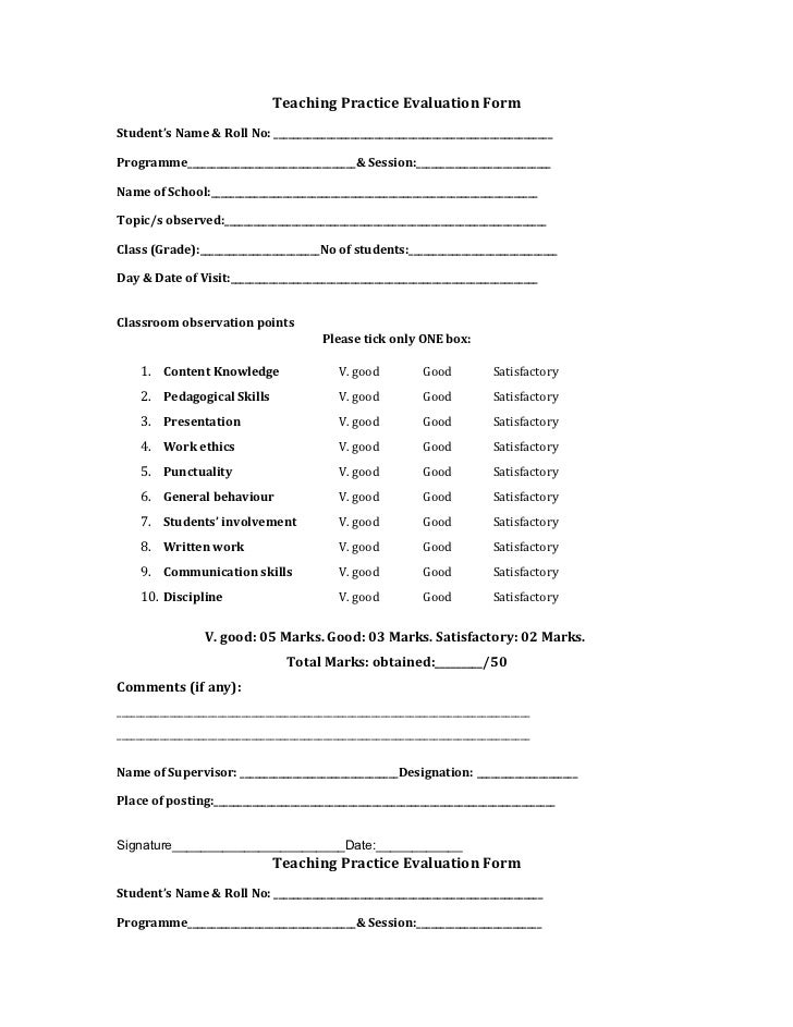 form teaching practice – Teaching Evaluation Form