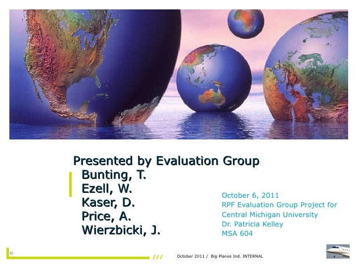 Presented by Evaluation Group   Bunting, T.   Ezell, W.   Kaser, D.   Price, A.    Wierzbicki, J. October 6, 2011 RPF Eval...