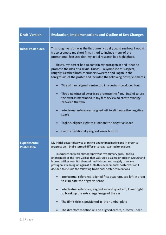 1 | P a g e Draft Version Evaluation, Implementations and Outline of Key Changes Initial Poster Idea This rough version wa...