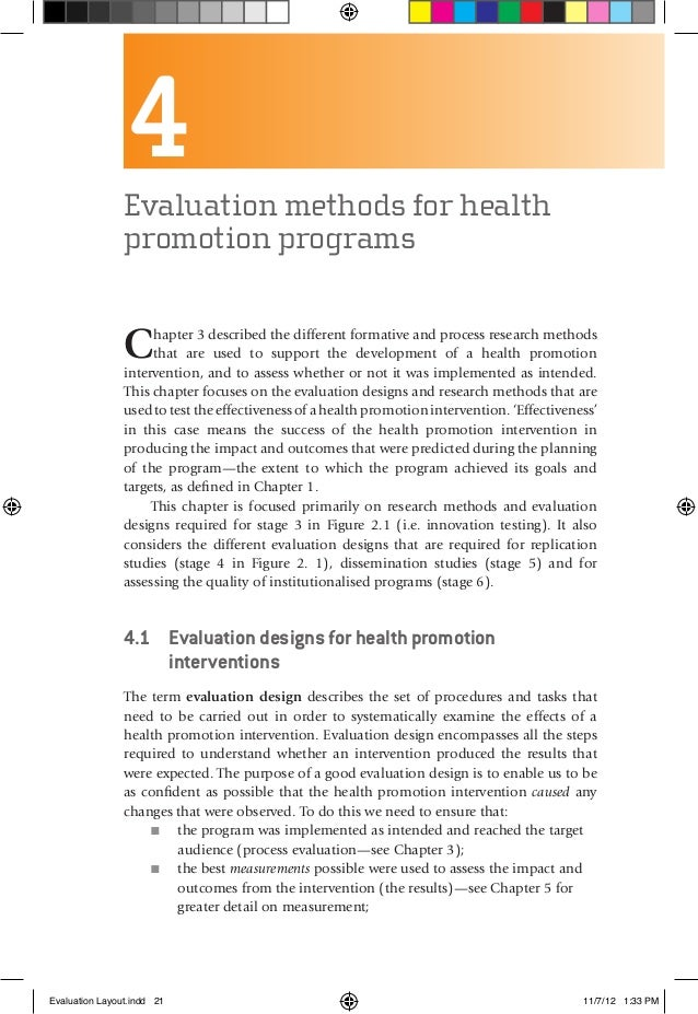 4Evaluation methods for health promotion programs Chapter 3 described the different formative and process research methods...