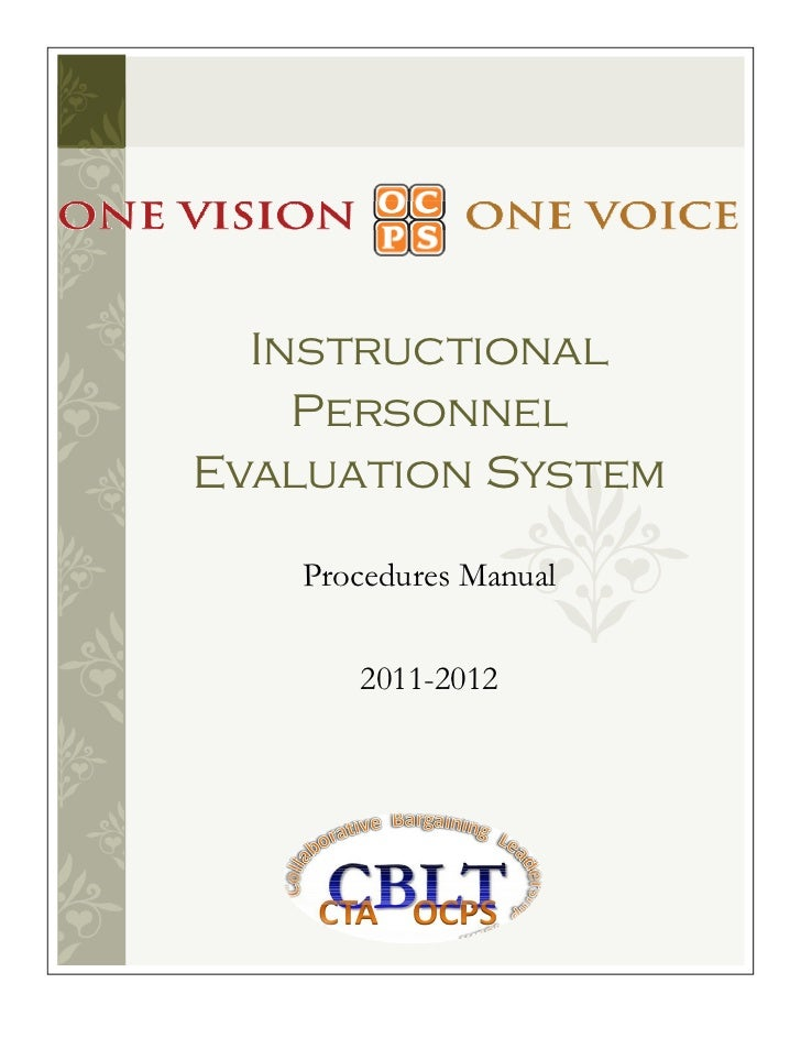 Instructional    PersonnelEvaluation System   Procedures Manual      2011-2012