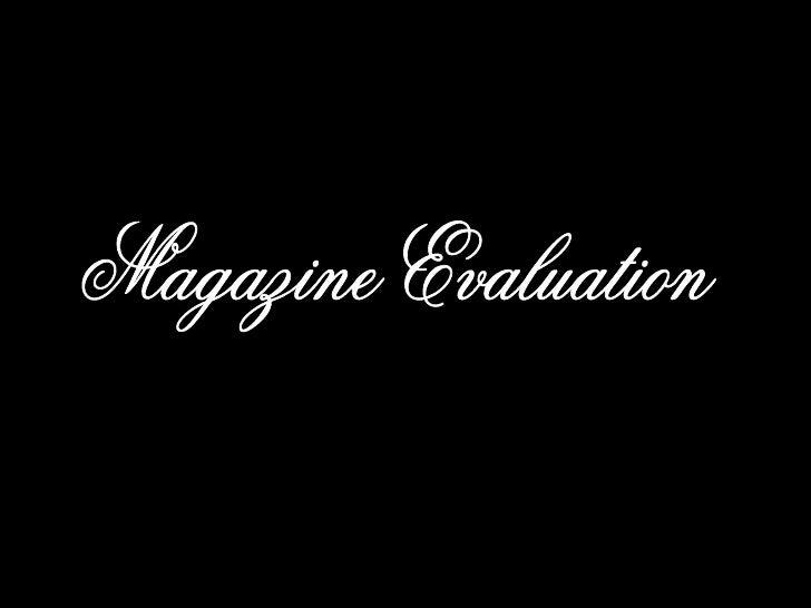 Magazine Evaluation