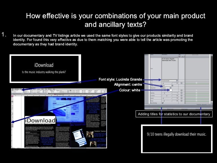 How effective is your combinations of your main product and ancillary texts? In our documentary and TV listings article we...