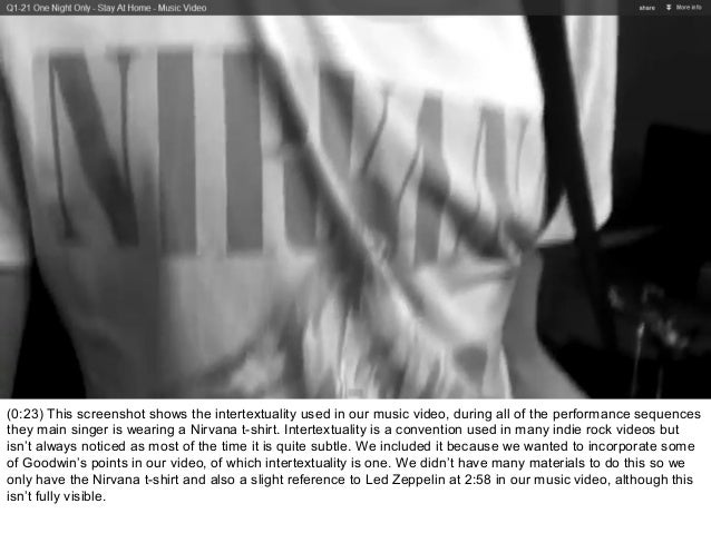 (0:23) This screenshot shows the intertextuality used in our music video, during all of the performance sequencesthey main...