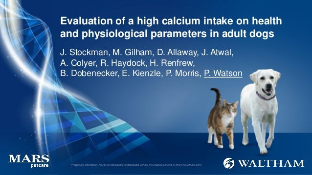 Evaluation of a high calcium intake on health and physiological parameters in adult dogs J. Stockman, M. Gilham, D. Allawa...