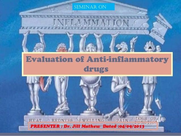 Evaluation of Anti-inflammatory drugs SEMINAR ON PRESENTER : Dr. Jill Mathew Dated :04/09/2013