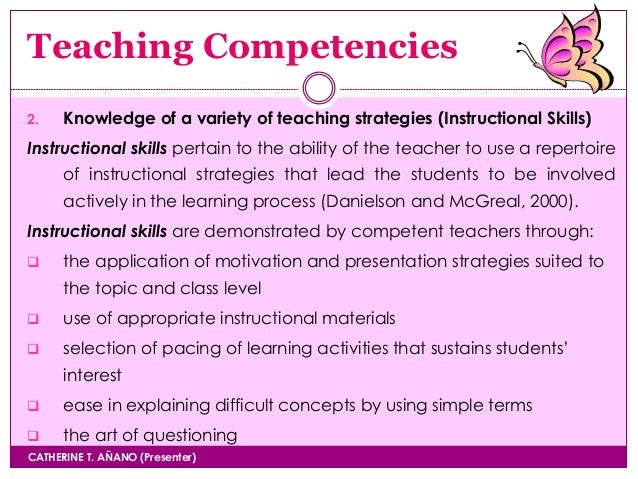 instructional competencies of a good teacher Effective supervision of instruction in nigerian  activity for the effective operation of a good school  to improve on their instructional competencies.