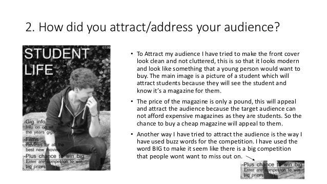Evaluation of college magazine Slide 3