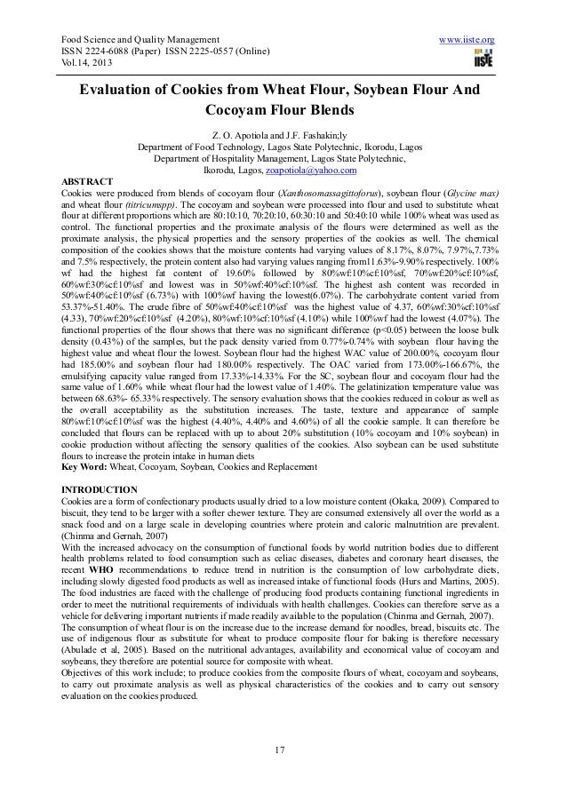Food Science and Quality Management www.iiste.orgISSN 2224-6088 (Paper) ISSN 2225-0557 (Online)Vol.14, 201317Evaluation of...