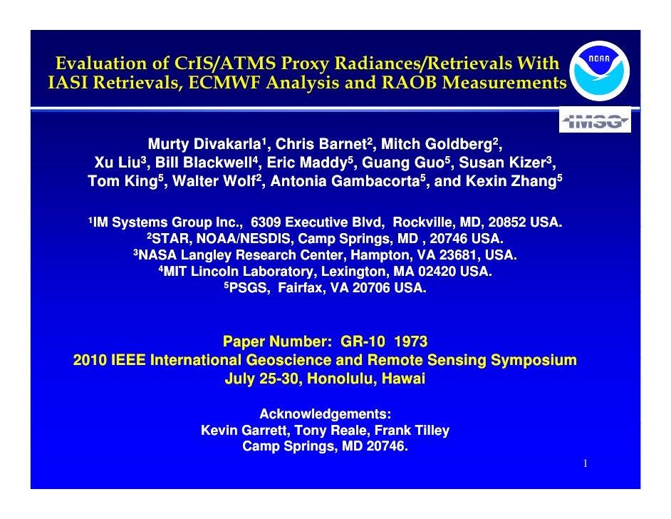Evaluation of CrIS/ATMS Proxy Radiances/Retrievals With IASI Retrievals, ECMWF Analysis and RAOB Measurements             ...